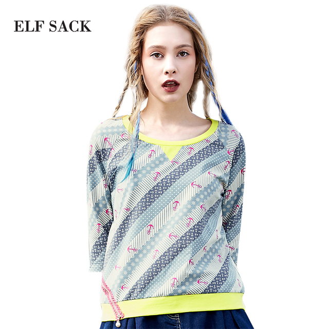 Elf SACK spring female fashion color block patchwork print loose o-neck casual t-shirt female w