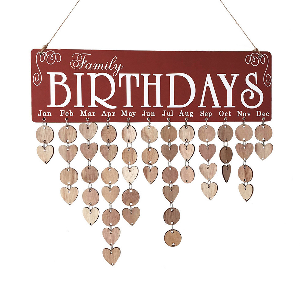 DIY Friends Family Wood Birthday Reminder Board Calendar