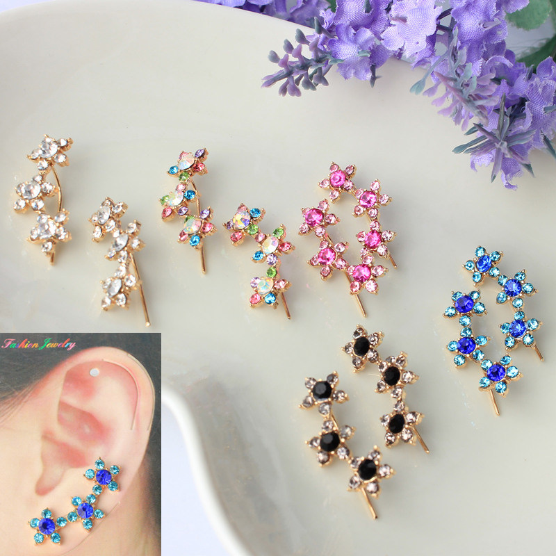 Fancy Ear Cuff Flower Rhinestone Earrings For Women High Quality Summer Style Brinco Piercing Clip
