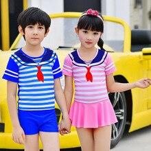 Rashguard/детский купальный костюм для маленьких мальчиков, бикини, купальный костюм для новых купальников, темно-синяя футболка для мальчиков, полосатая раздельная юбка для девочек