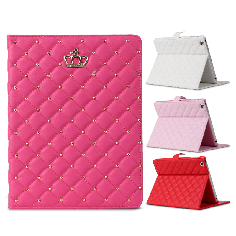 Fashion Newest Luxury C Grid PU Leather with diamond stand holder Case cover For ipad mini 1 2 3 with screen film foldable pu leather pad cover with flower girl driving style inlaid diamond support stand for ipad mini 3