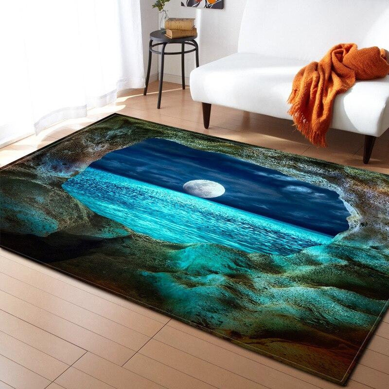 Tapis de style créatif terre cosmique ciel étoilé 3D impression flanelle tapis antidérapant doux 150*200 cm grande surface tapis pour salon