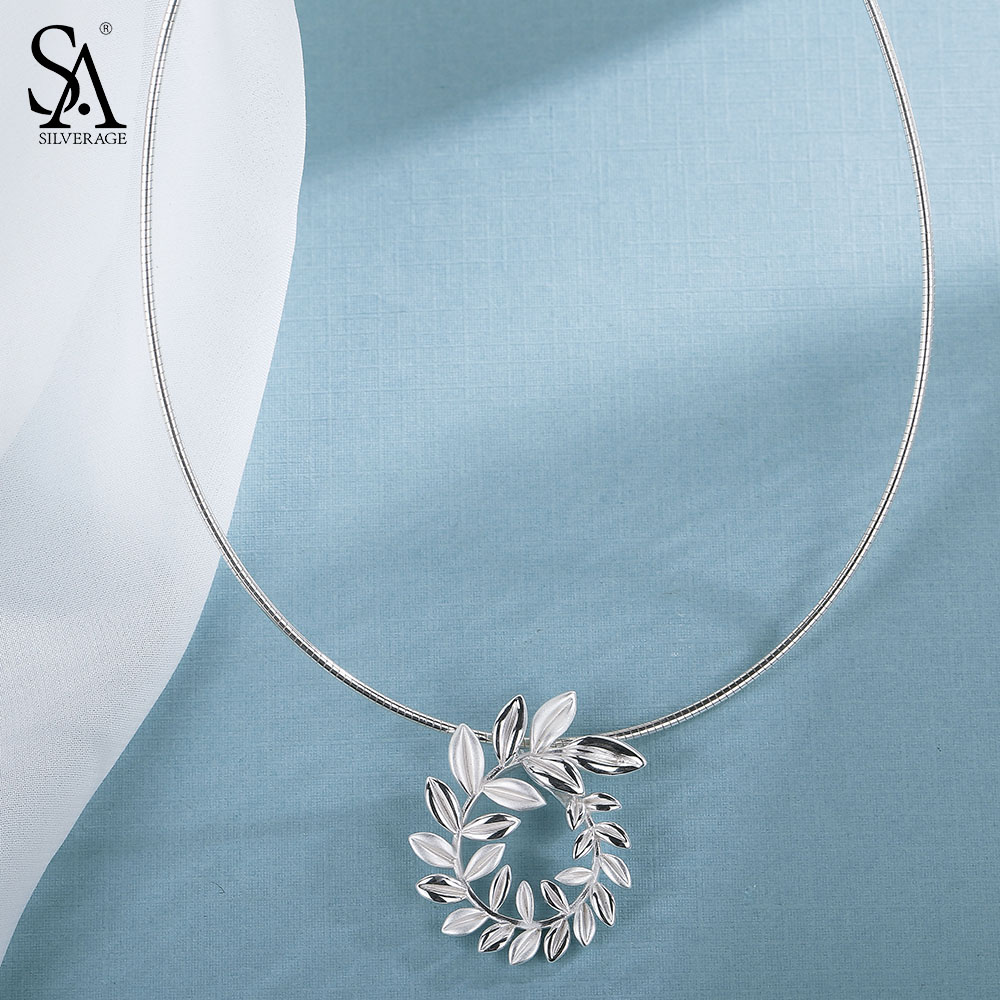SA SILVERAGE 925 Sterling Silver Willow Choker Necklace Chocker Necklaces Fine Jewelry For Women collier femme