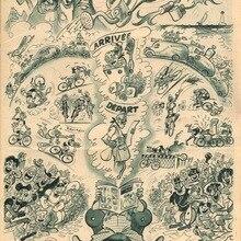 Vintage bicicleta de carreras de ciclo de carreras de cómics Retro Poster lienzo pintura DIY adornos de pared de papel decoración del hogar regalo