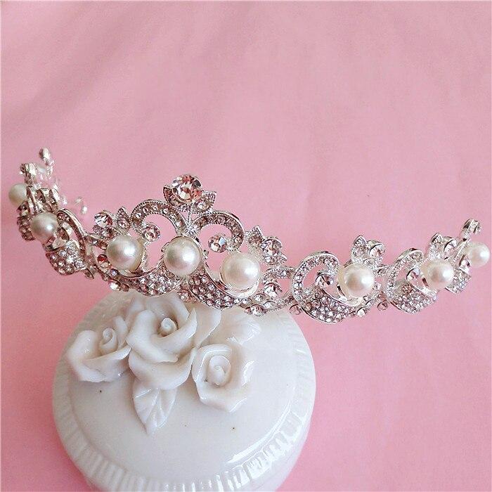 Small upscale Korean imitation pearl bridal hair jewelry wedding crown rhinestone tiara bride wedding hair accessories wholesale