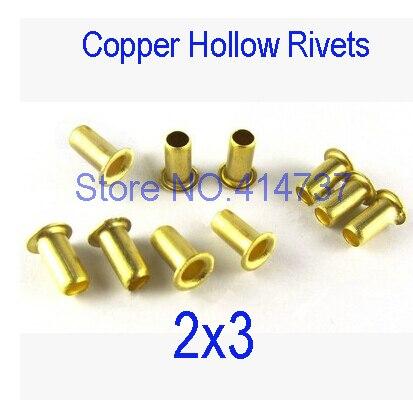 500 pçs/lote Alta Qualidade M2 (d) * 3 (L) mm 2mm Nova Marca Rebite Oco de Cobre placa de circuito Double-sided PCB vias unhas