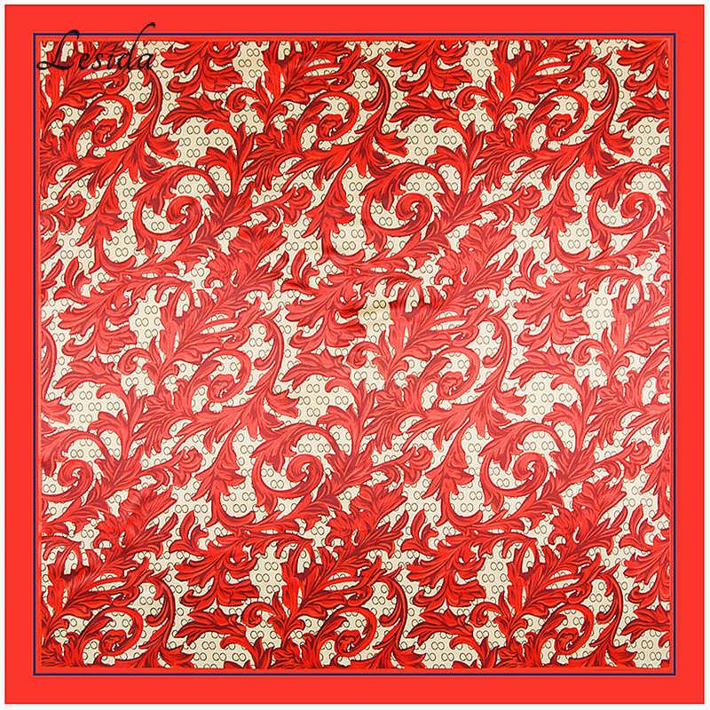 2018 Mewah Wanita Persegi Cetakan Foulard Femme Leher Bandana Merah Selendang Hewan Bunga Cetakan 90*90 Cm grosir