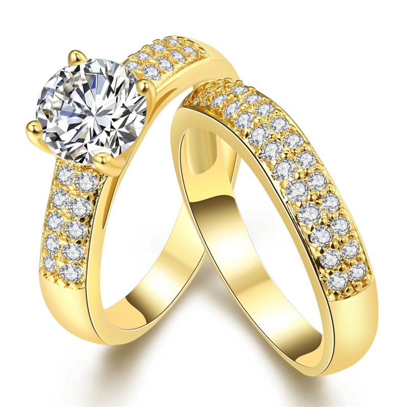 Hot Sale Stainless Steel AAA CZ Zicron Couple Engagement Rings Set ...