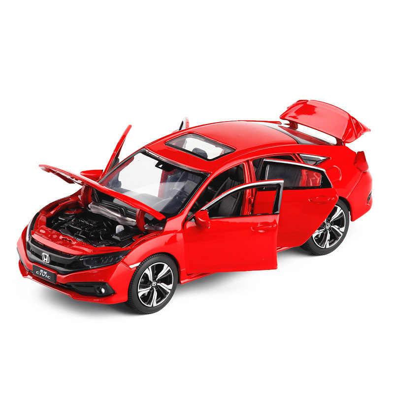 1/32 2019 nuova Honda Civic Modello di Auto Auto Giocattolo Pressofuso In Lega Colata di Metallo Del Suono della Luce Auto Giocattoli Per I Bambini