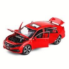 1/32, новая модель Honda Civic, игрушечные автомобили, литые под давлением автомобили из сплава и металла, игрушечные автомобили со световым звуком для детей
