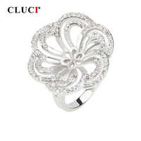 CLUCI Silver 925 Flower Wedding Rings Jewelry Pearl Ring Mounting Jewelry for Women Engagement 925 Sterling Silver Flower Rings