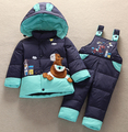 2016 Baby animal Horse Down Jacket jumpsuit Suit Kids Toddler Quality Down Coat+Pants Sets Boys Girls Children Winter Clothing