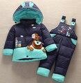 2016 cavalo animal para baixo jaqueta macacão terno do bebê crianças criança casaco qualidade para baixo + calça define crianças meninos meninas inverno clothing
