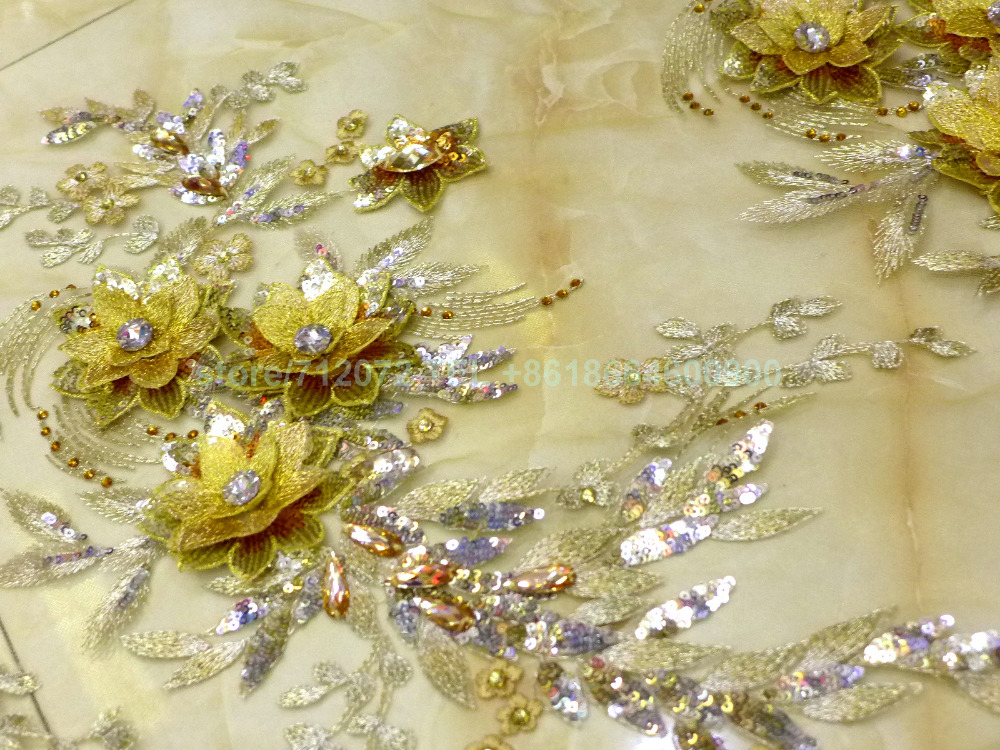 Hot Pink/champgane/gold Sequins Acrylic Stones 3D Handmade Flowers On Net Wedding Dress/evening/show/stage Dress Lace Fabric