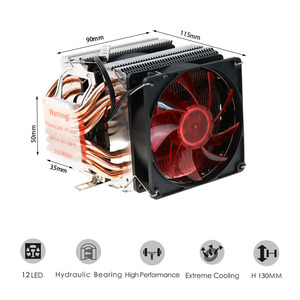 Image 3 - 2/4/6 Heatpipes CPU Cooler Fan For AMD Intel 775 1150 1151 1155 1156 CPU Radiator 90mm LED Two Fan 3pin Cooling CPU Fan PC Quiet