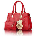 2 bags/set with bear toy  fashion alligator pattern handbag Patent Leather  casual shoulder bag women messenger bag Q5