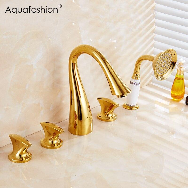 5 pièces or salle de bains douche robinet ensemble bain baignoire robinet douche main pulvérisateur plaque plaqué or baignoire mélangeur couverture Mount