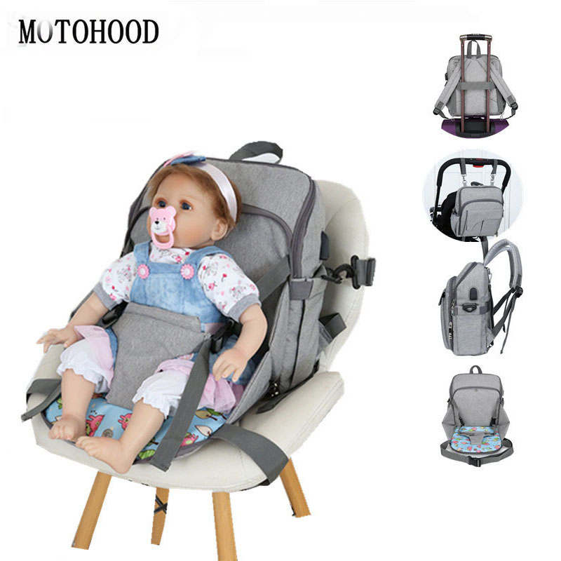 MOTOHOOD Portable Baby Seat Baby Diaper Bags Backpack Waterproof USB Stroller Baby Bag For Mom Organizer Maternity Bag