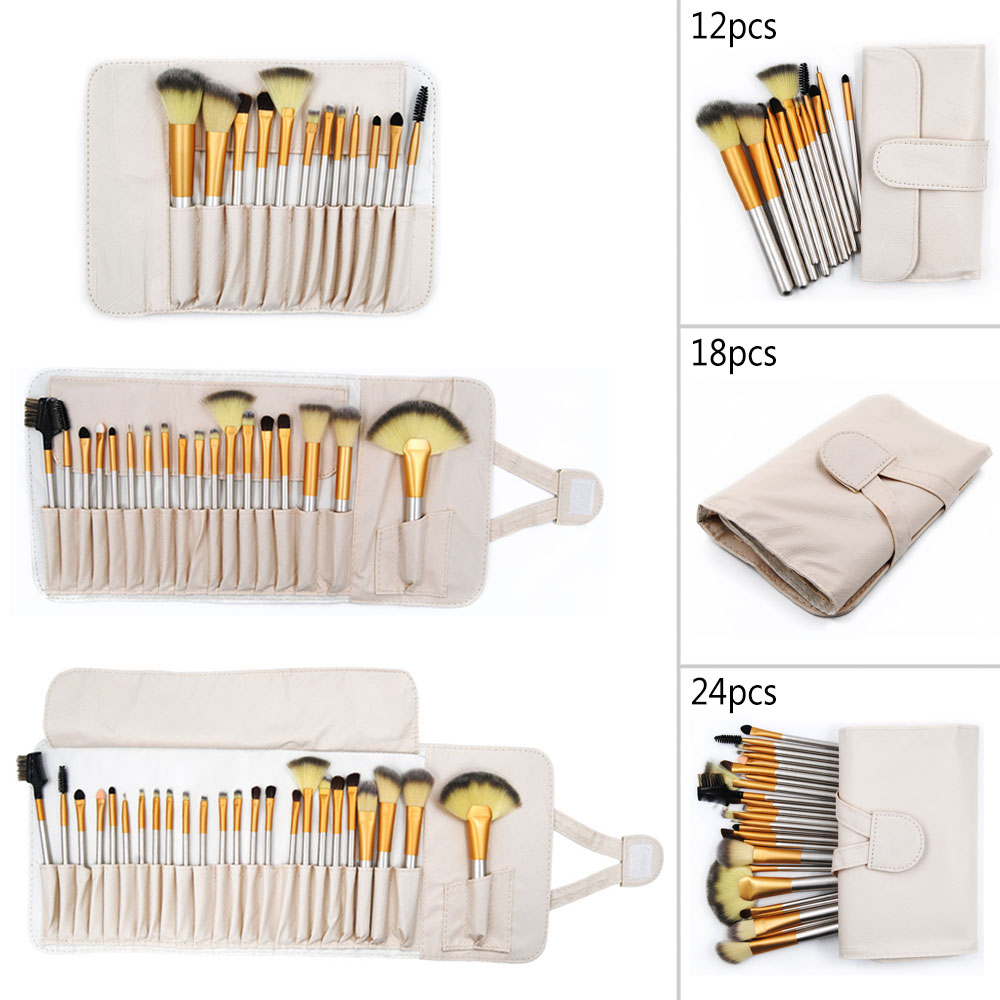 Makeup Brushes Professional Foundation Powder Brush Gold Beauty Cosmetic Brush For pincel maquiagem 24/18/12pcs Make Up Brushes 24 pcs professional makeup brushes beauty woman s kabuki cosmetic makeup brush set tools foundation brush pincel de maquiagem