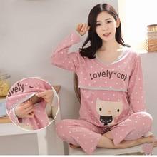 Купить с кэшбэком Maternity Pijamas Spring Autumn Feeding Suit Women Pajamas Maternity Suit Long Sleeves Nursing Sleepwear Breastfeeding Clothes