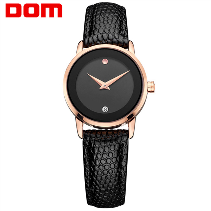 купить women watches DOM luxury brand waterproof style ladies quartz wristwatch leather gold nurse female watch relogio feminino 2018 по цене 1563.26 рублей