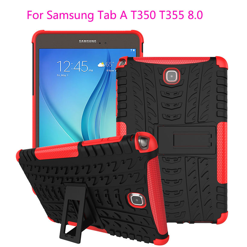 Case For Samsung Galaxy Tab A 8.0 inch T350 T351 T355 SM-T355 Cover Tablet TPU & PC Dazzle Impact Hybrid KickStand Stand Funda x line soft silicone rubber tpu case back cover skin shell for for samsung galaxy tab a 8 0 inch t350 t351 t355 case