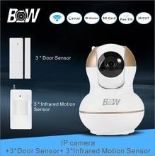 Wifi cámara ip + 3 sensor de puerta 3 infrarrojos motion Sensor PTZ 2 Vías de Audio Cámara de Seguridad del Sistema de Alarma Inalámbrico vigilancia