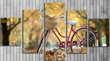 Autumn Bicycle Home Decorative Canvas Art Paintings Printed Posters For Living Room Unframed 5 Panels Wall Art Picture(China)