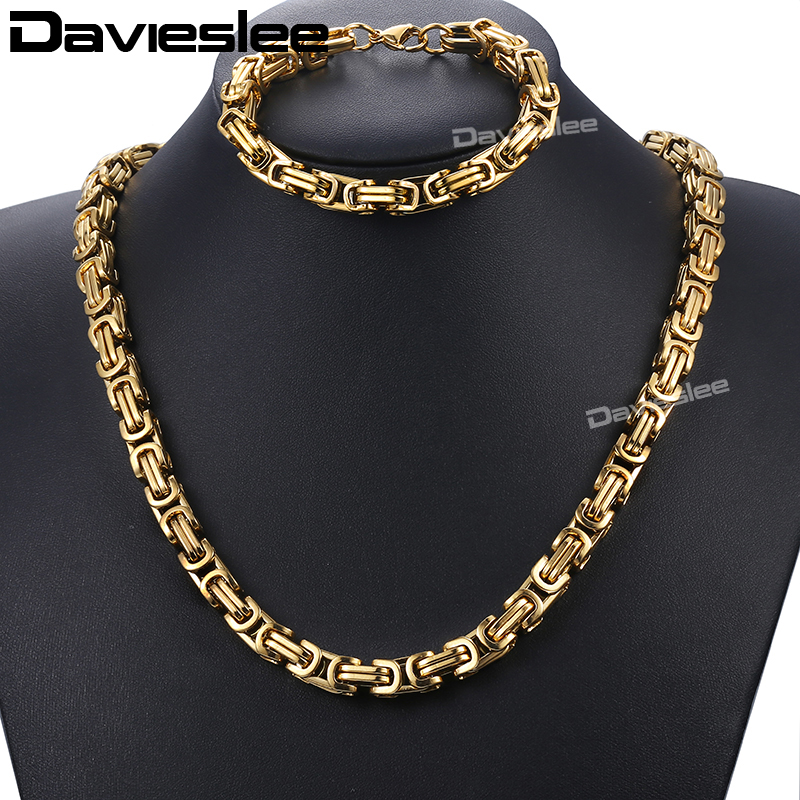 Davieslee Mens Stainless Steel Bracelet Necklace Set Gold Byzantine Box Chain Jewelry Set 2018 Fashion Hip Hop Jewelry 8mm DKS55 davieslee fashion mens man made leather bracelet stainless steel box link knot charm wristband 13mm dhb496