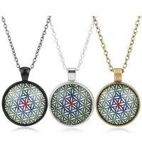 Bán buôn Hoa Của Cuộc Sống Necklace Om Chakra Flower Pendant Mandala Đồ Trang Sức Thiêng Liêng Hình Học Necklace Glass Yoga Vòng Cổ Năng Lượng