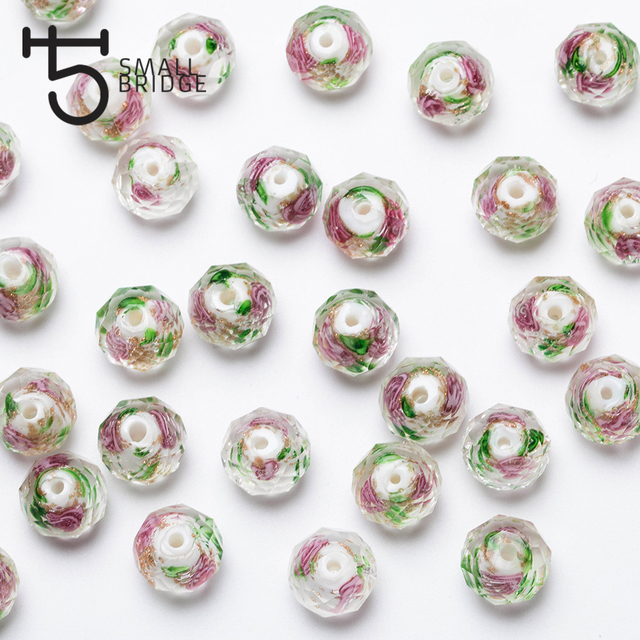 12mm Large Murano Transparent Glass Lampwork Beads for Jewelry Making Women Diy Bracelet Flower Rondelle Faceted Beads L002 3