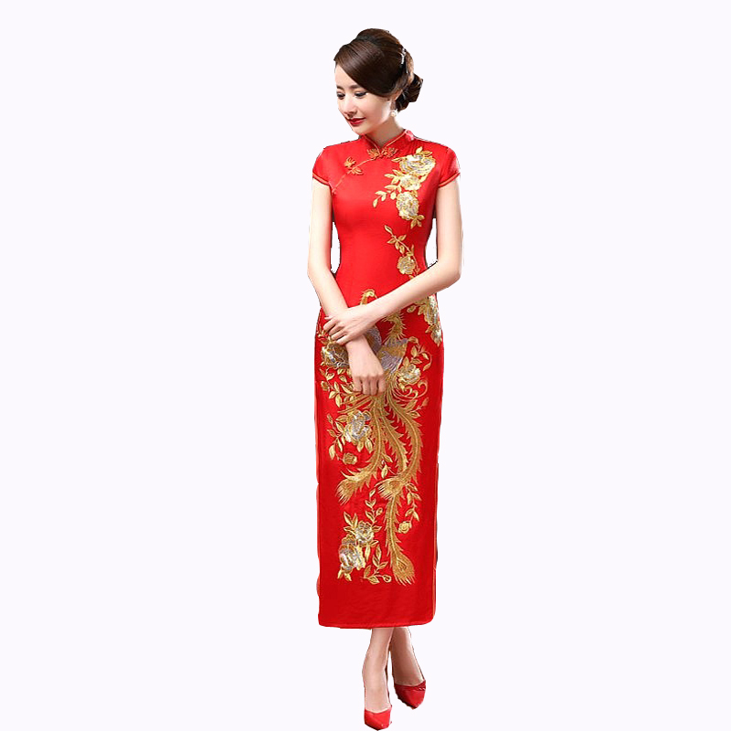 Summer New Red Chinese Bride Wedding Qipao Dress Women Satin Long Slim Cheongsam Embroidery Flower&Peacock S M L XL XXL C0042