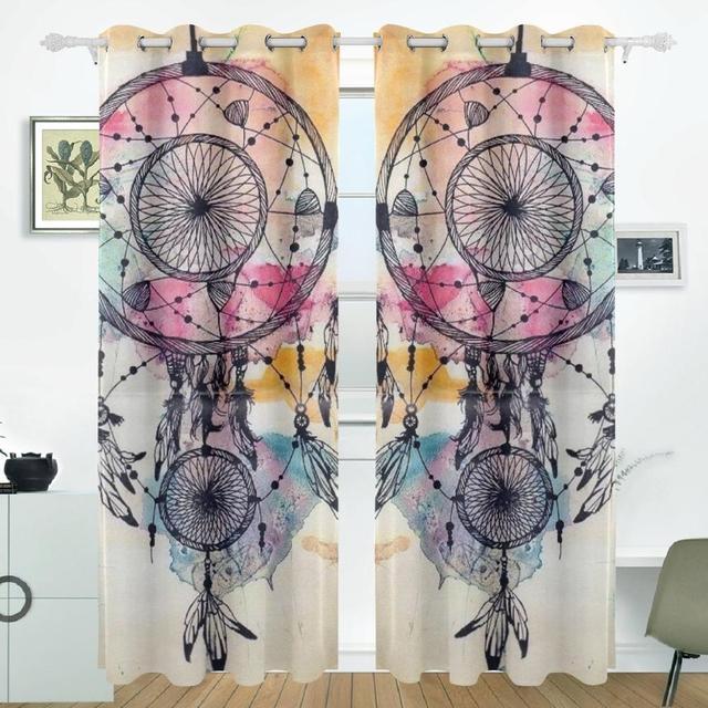 Dream Catchers Curtains Drapes Panels Darkening Blackout Grommet Room Divider For Patio Window Sliding Glass Door