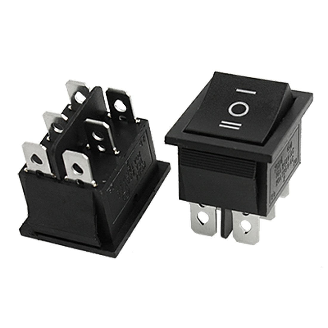 THGS  2pcs 6 Pin DPDT ON-OFF-ON 3 Position Snap in Rocker Switch 15A/250V 20A/125V AC yellow led on off rocker switch w terminal protector set for electric appliances 2 pcs