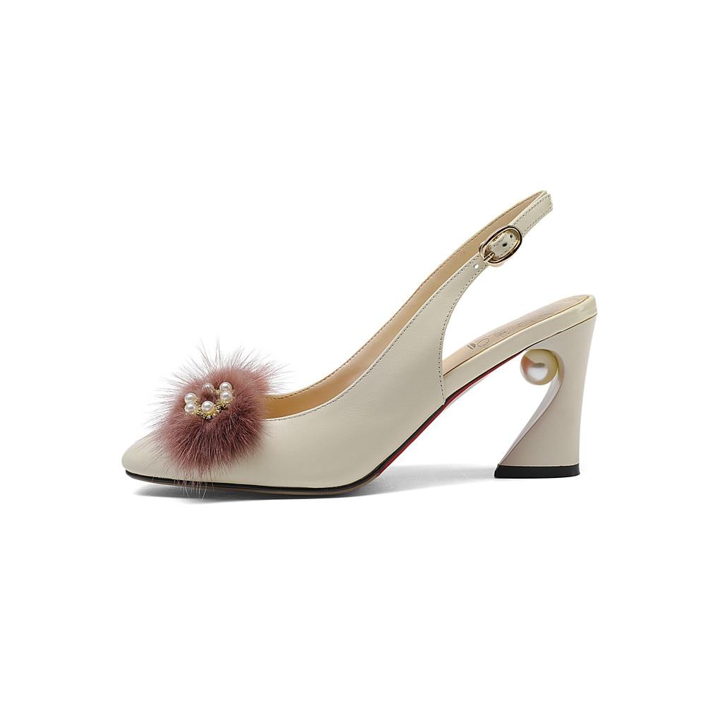 Hechos Tacón Pelo Muyisexi Del apricot Primavera Cuero De Mujeres Zapatos Diamante Marten Genuino Tamaño Alto Plus Verano Hy08 A Mano Las Decorado Black 067Yw7