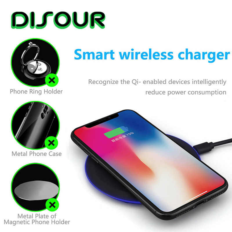 DISOUR Ultra-thin Q1 wireless charger for Huawei P30 Mate 20 Pro Magic2 wireless Portable charging pad for iPhone X Xs MAX XR 8