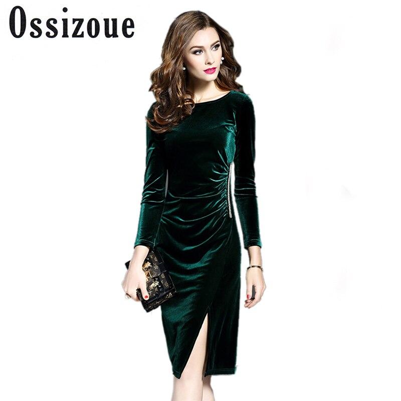 Women Green Velvet Dresses Plus Size Elegant Autumn Winter Slimming