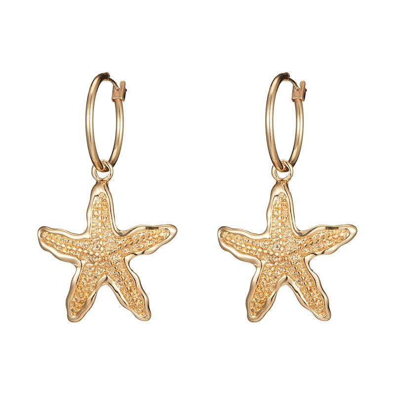 Boho Vintage Earrings for Women Star Starfish Shell Dangle Drop Female Big Statement Bohemian Jewelry