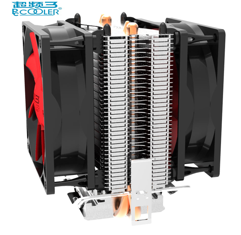PcCooler Double fan CPU cooler fan pure cooper 2 heatpipe silent cooling radiator fan for LGA775 1151 1155 1556 FM2+ FM2 FM1 AM3 pccooler 12cm computer case cooling fan quiet cpu and power cooler fan cooling radiator fan 120mm computer pc chassis fan silent