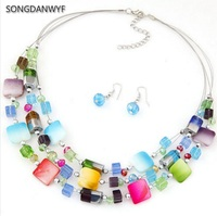 SONGDANWYF Statement Rainbow Crystal Necklace Earrings Jewelry Sets Choker Collar Fashion Jewelry 2017 News For Women Girl Gift