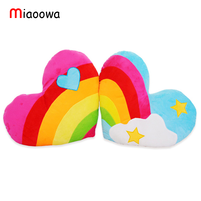 45cm*38cm South Korea love heart rainbow clouds couple plush cushion / pillow birthday gift wedding Gift Doll