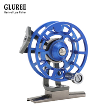 GLUREE Full Metal Ultra-light Former Ice Fishing Reels Gear Ratio 1:1 Right Hand Fly Fishing Reel CNC Machined Aluminum 5 Colors lg85 full metal 3 shaft line wt 5 6 fishing reel gear ratio 1 1 fly reel fly fishing fishing tackle