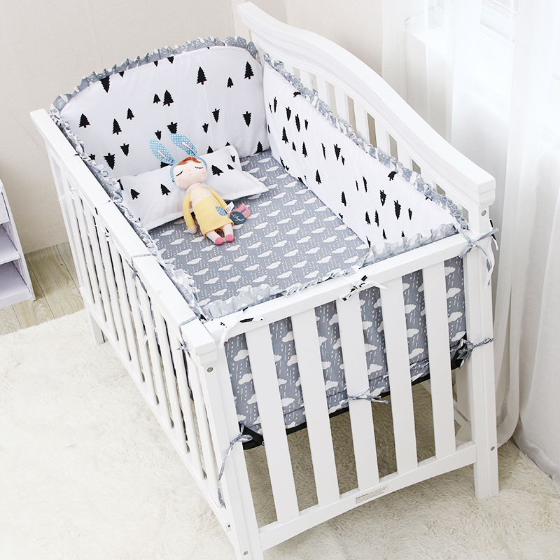 Black White Dots/Crown Pattern Baby Bedding Set 5 pcs Baby Bed Cotton Linens Set Include Crib Bumpers Bed Sheet Multi Sizes