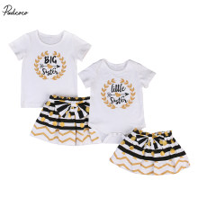 Infant Baby Girls Sister Family Set Short Sleeve Romper T-shirt Striped Polka Dot Skirt Outfits Clothes(China)