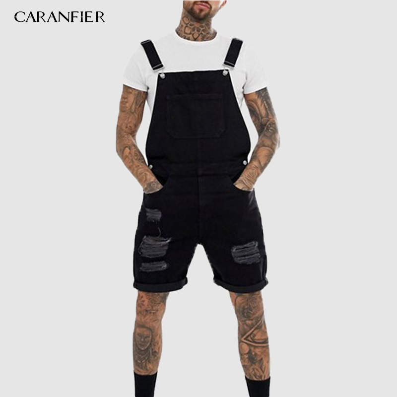 CARANFIER 2019 Summer Men Blue Black Short Jeans Overalls Fashion Ripped Jeans Jumpsuit Shorts Men Trend Denim Suspender Pants