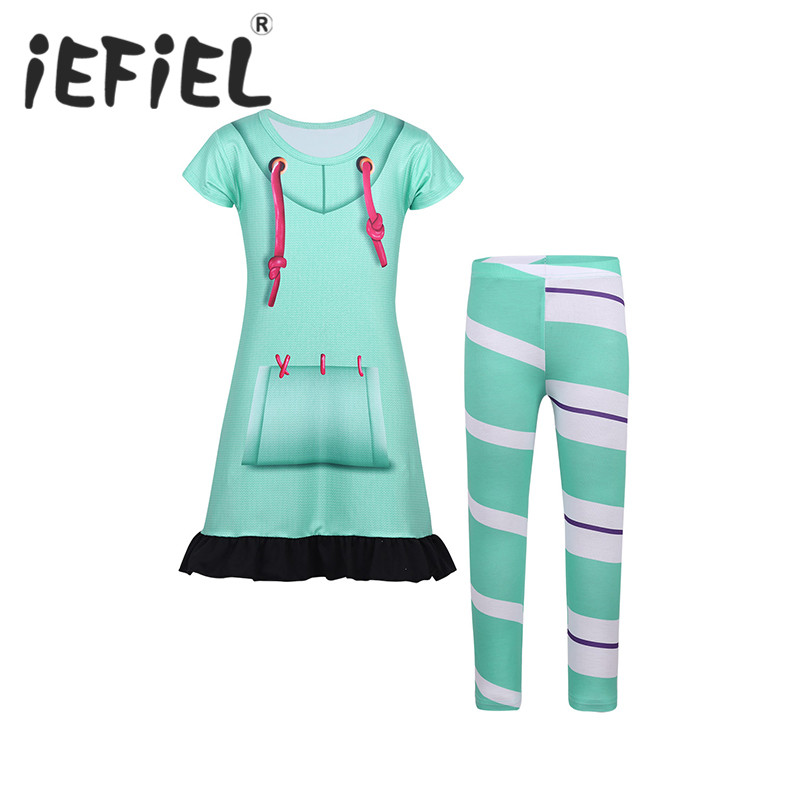 Kids Girls Vanellope Von Schweetz Dress with Striped Leggings Set Cartoon Dress Up Outfit for Halloween Cosplay Party Costumes