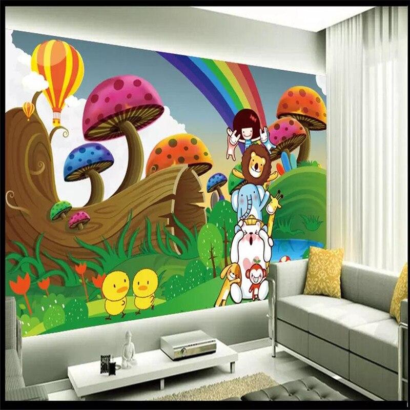 Cartoon rainbow sky mushroom child background wall professional making mural custom photo wallpaper