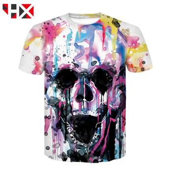 HX Hot Sale Colorful Skull 3D Print Harajuku T Shirt Grim Reaper Skull Casual T Shirt Men/women Streetwear T Shirt Tops HX768