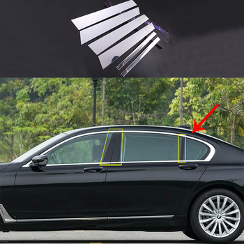 6x Alloy Window Pillars Post Middle Panel Cover Trim For BMW 7 Series G12 2017-2018
