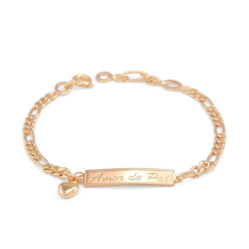Amor De Pai Mae 165mm Baby Bracelet Gold Kids Jewelry Heart Pulsera Bebe Bracelete Bracciali Nina S Boys Braclet B01pai In Charm Bracelets From